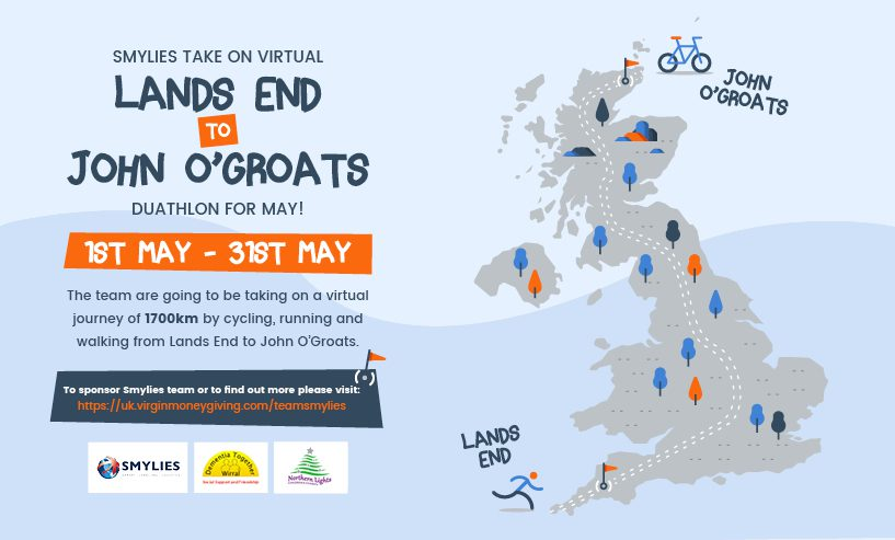 Support Smylies as we complete the virtual Lands End to John O'Groats duathlon!